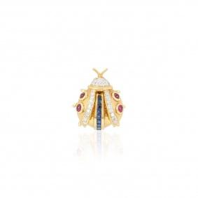 Yellow Gold Diamond, Sapphire and Ruby Ladybird Brooch